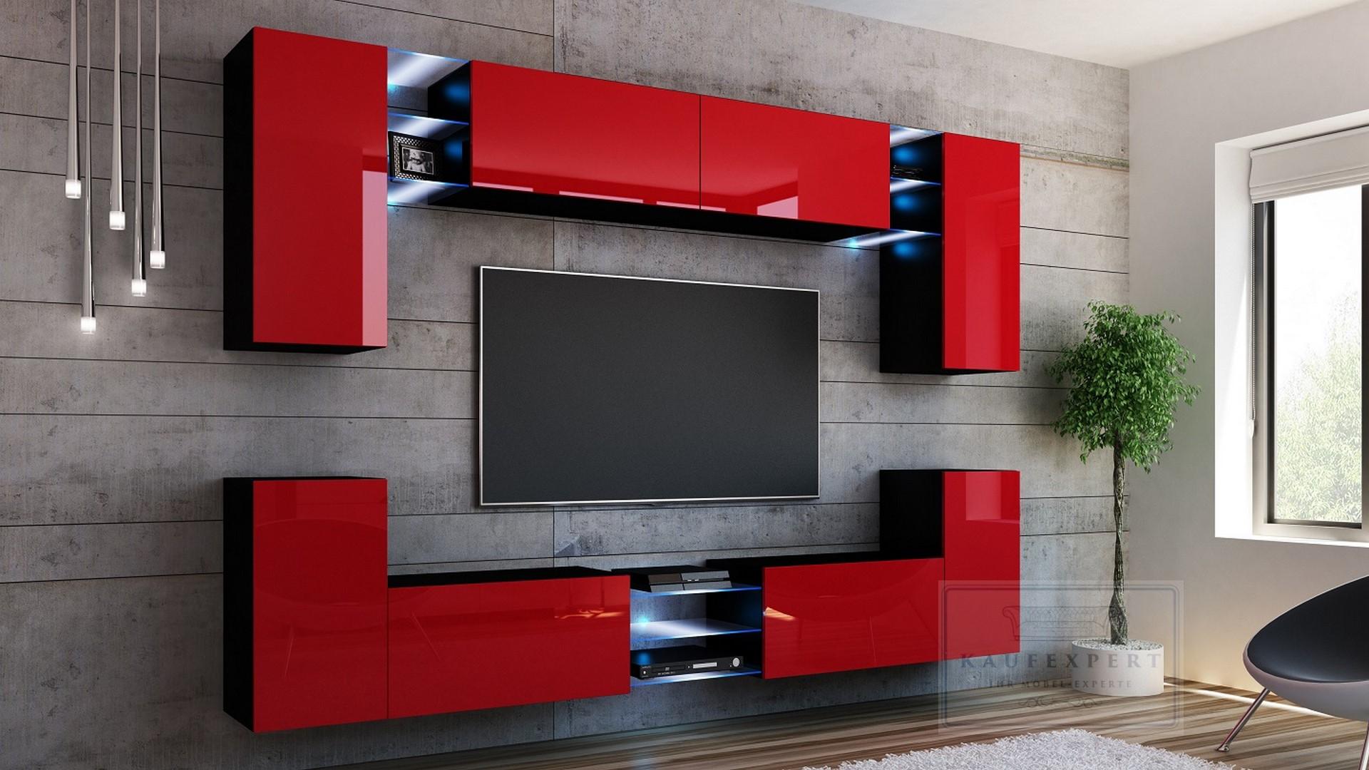 Details zu BESTSELLER Wohnwand SPLASH 9 Farbauswahl MDF Hochglanz  Mediawand Beleuchtung