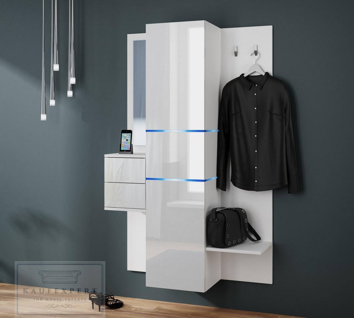 Garderobe Camino Neue Version Weiß Hochglanz Garderoben Set