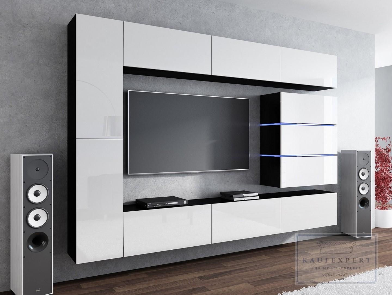 Details zu Wohnwand SHINE Weiß/Schwarz Hochglanz LED Hängewand Mediawand